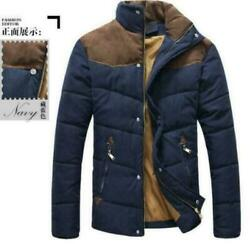 Mens Stand Collar Winter Jacket Quilted Parka Thicken Casual Padded Outwear Tops