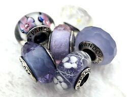 6 Pandora Murano Silver Charm Faceted Flower Blue & White Glass Beads