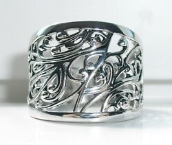 .925 Sterling Silver Women's Wide Band Ring Extravagant Vines & Scrolls