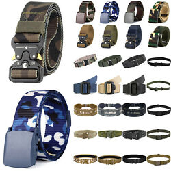 Men Military Belt Tactical Army Hunting Outdoor Waistband Buckle Training Belts