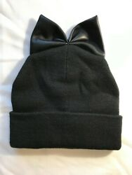 FallWinter Warm Knit Ribbed Beanie Hat with BOW