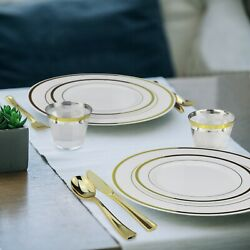 Gold Plastic Dinnerware Set 600 Pieces Up to 100 Guests Plates Cups amp; Cutlery $109.99