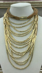 Vintage Style Necklace Goldtone Metal Tube Tan Waxed Cotton Multi Strand Draping