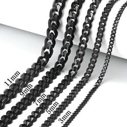18quot; 30quot; Stainless Steel Black Tone Chain Cuban Curb Mens Necklace 3 5 7 9 11mm $11.99
