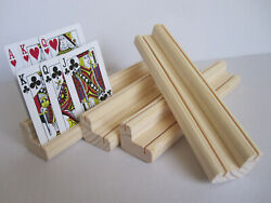 Wooden Playing Card Holder Rack   Two Levels  Set of Four