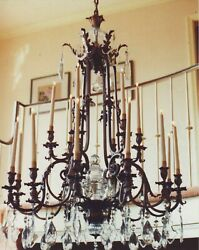 Rare Early 19th Century circa 1800 Antique Austrian Chandelier W French Prisms $7500.00