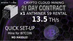 3 Week CLOUD Mining Contract Bitmain Antminer Rental s9 13.5TH SHA-256 BitCoin