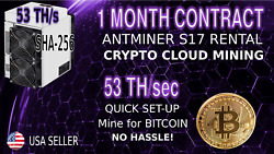 53 THs 30 Day Cloud MINING Contract - AntMiner Rental S17 Lease Bitcoin Hashing