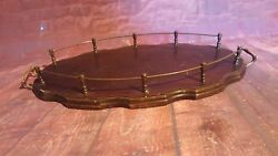 Antique Victorian Vintage Wooden Butler Servant Butlers Serving Gallery Tea Tray