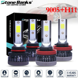 4x Combo 9005+H11 Mini  LED Headlight Bulbs Conversion Kit High Low Beam 6000K