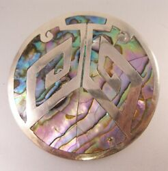 Mexican Eagle Mark 2 NPH Inlaid Abalone Sterling Silver Brooch Pendant Vintage