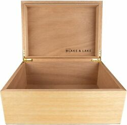 Large Wooden Box with Hinged Lid - Wood Storage Box with Lid - White Oak Box