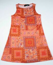 NICOLE MILLER DESIGNER GIRLS SIZE LARGE 12 GORGEOUS ORANGE BOHO PRINT DRESS