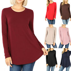 Women#x27;s Long Sleeve Tunic Top Casual Crew Neck Basic T Shirt Blouse Loose Fit $14.95