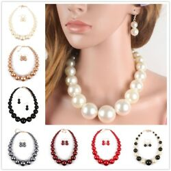 Fashion Jewelry Set Earring Faux Pearl Necklace Clavicular Chain Pendant Women