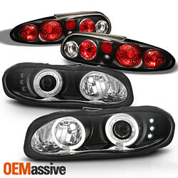 Fits 98-02 Chevy Camaro Black Bezel Dual Halo Projector Headlights + Tail Lights