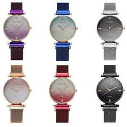 Women Fashion Watch Starry Sky Crystal Magnetic Stainless Band Wrist Watches