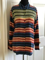NWOT EQUIPMENT Silk Stripe Shirt Blouse  ~ Medium  Runs Roomy