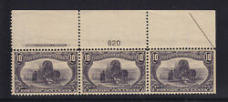 290 VF+ Plate # Top strip of 3 OG never hinged nice color cv $ 1300 ! see pic !