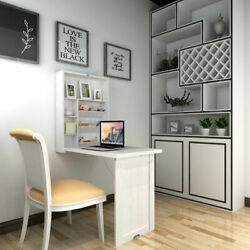 Floating Desk Fold-Out Wall Mounted Convertible Table Home Living Room White $199.39