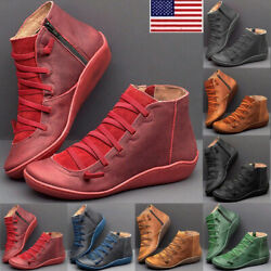 Women Ankle Boots ARCH SUPPORT Suede Stitch Winter Shoes Flat Heels Loafers
