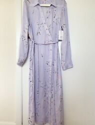 NWT $425 Equipment Fabienne Asymmetrical Button Front Silk Blend Midi Dress L