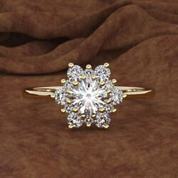 Gorgeous Gold Filled White Sapphire Flower Rings Promise Anniversary Jewelry Sz9