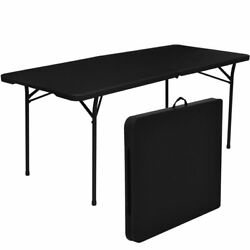 Folding Table 6#x27; Portable Plastic Indoor Outdoor Camp Picnic Party Dining Table $46.80