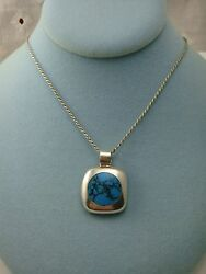 GORGEOUS 950 SILVER TURQUOISE INLAID PENDANT WITH 17