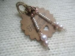 copper long elegant pink pearl earrings with and pink baroque pearls