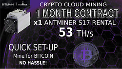 CLOUD MINING 56 + THs 30 Day Contract Antminer Rental S17 Lease BTC BCH Hashing