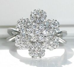 .925 Sterling Silver Women's Ring 7 Cluster Extravagant Flower Cubic Zirconia