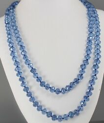 VINTAGE 70'S LONG BLUE CRYSTAL GLASS BEAD NECKLACE