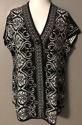 STUNNING BLACK & WHITE STYLE & CO CARDIGAN SWEATER - SIZE XL