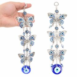 Glaze Blue Evil Eye 3 Butterflies Amulet Protection Wall Home Decor Hanging