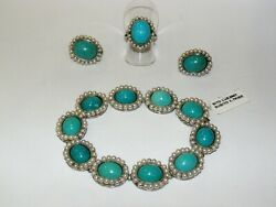 Antique Set Bracelet Ring Earrings Pearls Turquoise Classic 1950 古董完整绿松石珍珠耳环