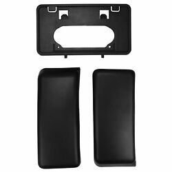 Front Bumper Guards Pads + License Plate Bracket Tag Kit For 09-14 Ford F150
