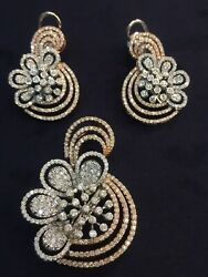 6.82 Cts Round Brilliant Cut Diamonds Pendant Earrings In 585 Stamped 14K Gold