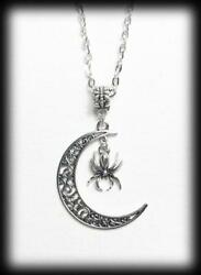 Crescent Moon Necklace Gothic Witch Wicca Pendant Filigree Moon With Spider