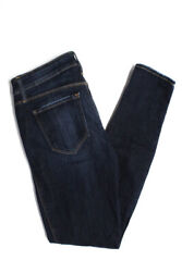 Genetic Womens Skinny Distressed Jeans Dark Blue Cotton Low Rise Size 26