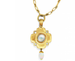 NWT Brighton Versailles Orleans Gold Long Necklace Moonstone Cabochon  $110