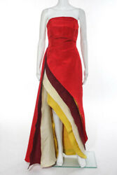 Rosie Assoulin Red White Yellow Resort 2015 Color Block Gown Size 4