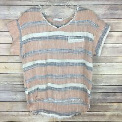 Karlie Women's Knit Top Size Small Brown Gray Striped Short Sleeve Linen Blend
