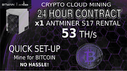 24 Hour Bitmain S17 Antminer Rental 56TH ASIC Bitcoin CLOUD MINING Sha256 Crypto $14.75