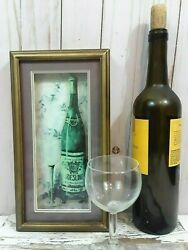 Wine Art Framed Riesling Bottle and Wine Glass with Hook Kitchen Wall Decoration $11.99