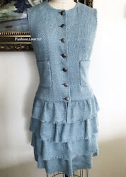 $4535 GORGEOUS CHANEL 12P RUNWAY LIGHT BLUE TIERED TWEED DRESS 42