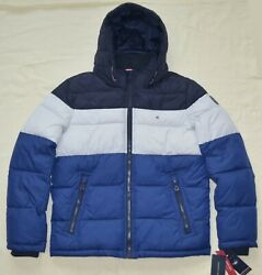 New Tommy Hilfiger Mens quilted padded puffer winter jacket coat Blue L XXL 2XL