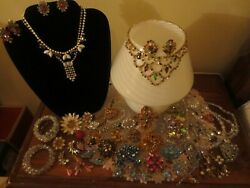 Lot of 50  Beautiful Rhinestone Vintage Rare Fruit Salad BroochesNecklaces Set