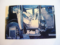VINTAGE BLACK AND WHITE PHOTOGRAPH POOR MOTHER AND CHILD LIVING OUT OF CAR
