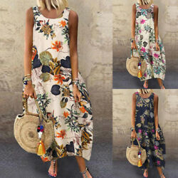 ZANZEA Women Sleeveless Summer Tank Dress Floral Print Shirt Dress Midi Dress $18.11